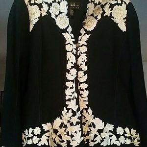 Nicole Miller Sz 12 2pc Blk Suit